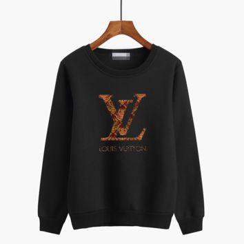 """Louis Vutitton"" Unisex Casual Multicolor Logo Letter Print Couple Thickened Long Sleeve Sweater Tops"
