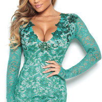 NORTH LACE DRESS IN EMERALD OPEN BACK