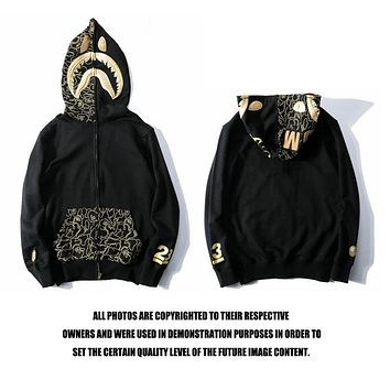 BAPE Black gold embroidery shark head pocket printing sweater jacket M ~ 2XL