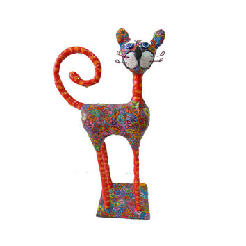 Cat sculpture polymer clay handmade, cat lover, whimsical ,Collectibles ,made in Israel