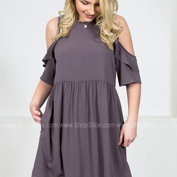 Darling Ruffle Grey Dress