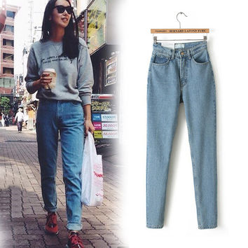 2016  New Slim Pencil Pants Vintage High Waist Jeans new womens pants full length pants loose cowboy pants