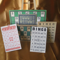 Vintage 3 Lotto game cards AND 3 Bingo game by ScrappyDoodads