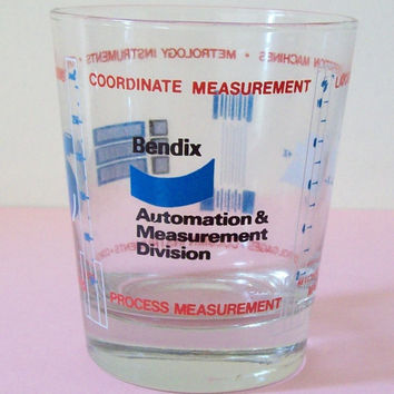 Vintage Bendix Measuring/Drinking Glass oz/ml - Ad for Automation & Measurement - Advertising