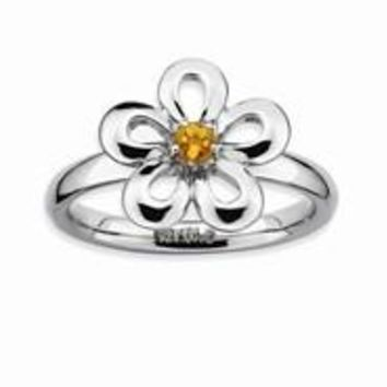 Sterling Silver Polished Citrine Flower Ring