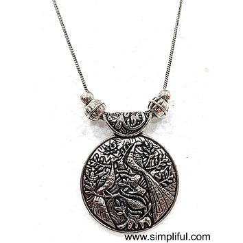 Silver oxidized Pendant Necklace - Circle Different designs available