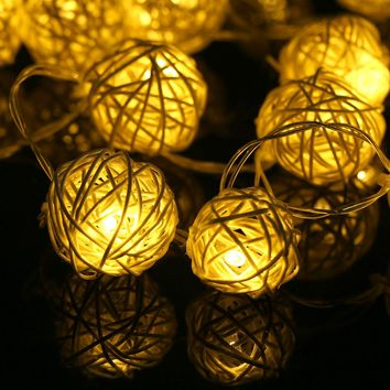 20 LED Rattan Ball Garland LED Holiday Lighting Strings Warm White Romantic Home Wedding Party Christmas Decoration