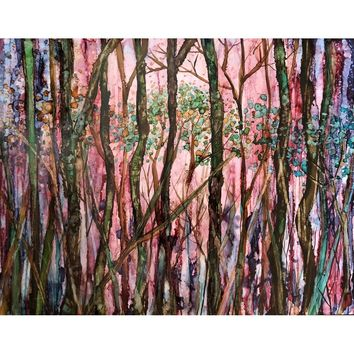 Dreaming in Trees : alcohol ink painting