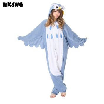 HKSNG Adult Winter Flannel Cartoon Animal Owl Kigurumi Pajamas Onesuit Cosplay Costume For Women and Men
