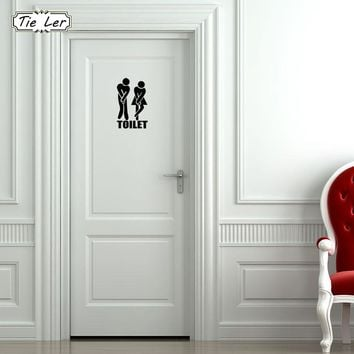TIE LER 3 PCS Funny Toilet Entrance Sign Decal Wall Sticker for Shop Office Home Cafe Hotel DIY Toilet Door Stickers