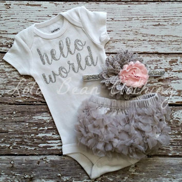 Hello World Take Home Outfit Baby Girl Take Home Outfit Newborn Baby Girl Bodysuit Grey Bloomers Pink & Grey Headband Set