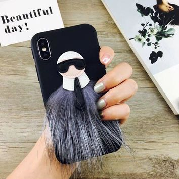 Fashion Monster Karl Mink Fur Phone Case for IPhone6 6s 7P 8 X Cover Skin Shell