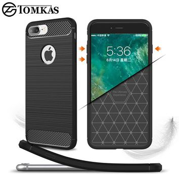 Protective Silicone Case For iPhone 6 6S 7 Plus TPU Cover Carbon Fiber Phone Cover For iPhone 5S 5 SE 6 S 6Plus Coque Tomkas