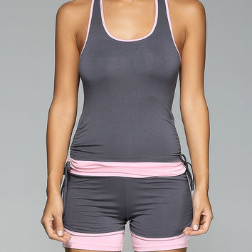 Contrast Trim Racerback Side Drawstring Tank Top and Spliced Shorts Twinset