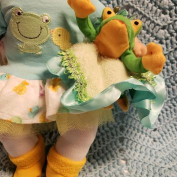 "15 inch baby doll lovey blankie blanket ""Froggy Lovey"" security blanket E8"