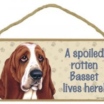 "Basset Hound,Christmas Gift for Dad, Dog Lovers' Decorative Wooden Wall Plaque Sign 10' x 5"" - A Spoiled Rotten Basset Hound Lives Here!"