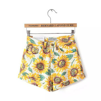 High Waist cowboy sunflower shorts