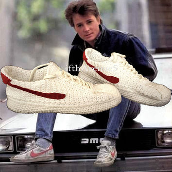 Back to the Future Marty McFly's Bruin Crochet Knitting Style Sneakers, BTTF Custom Knitting Footwear, Retro Style Custom Crochet Sneakers