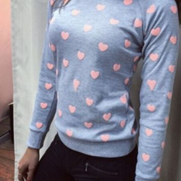 Heart Pattern Print Long Sleeve Sweater