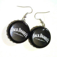 Jack Daniel's Handmade Rockabilly-Girl Beer Bottle Cap Earrings