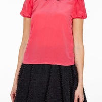 Pink Velvet Collar Short Sleeve top by Red Valentino