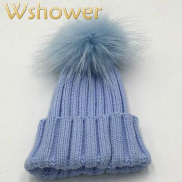 Which in shower Children Real Dyeing Raccoon Fur Pom Pom Winter Beanie Kids Boy Girl Baby Mink Fur Pompom Ball Knitted Hat Cap
