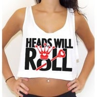 Heads Will Roll Tri-Blend Crop Tee | Rave Crop Tee | EDM Crop Tee