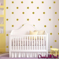 2x2 Set of 150 Gold Vinyl Wall Decal Sticker Art Stars Gold Set for Baby Nursery Confetti Stars (Gold) M1609