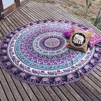 "Indian Mandala Round Elephant Tapestry - Versatile Use - 59"" Diameter"