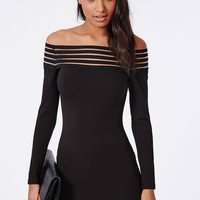 Black Off Shoulder Stripe Mesh Long Sleeve Bodycon Mini Dress