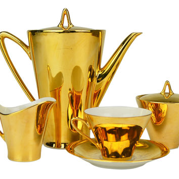 6 Placements Gold Coffee Set with Cups and Coffee Pot Vintage German circa 1950