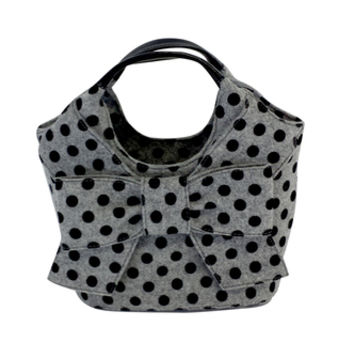 Kate Spade- Grey & Black Polka Dot Felt Handbag