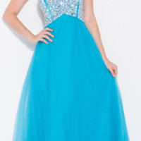 2013 Homecoming Dresses - Turquoise Strapless Rhinestone Sweetheart Long Gown - Unique Vintage - Prom dresses, retro dresses, retro swimsuits.
