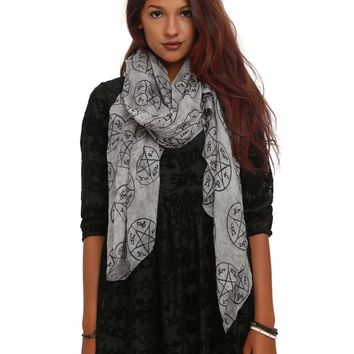 Licensed cool Supernatural Anti-Possession Rune Symbols Grey Wash Oblong Viscose Neck Scarf