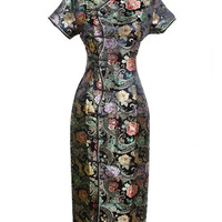 Black Chinese Women's Satin Long Qipao Halter Cheongsam Dress Flower S M L XL XXL XXXL J0024