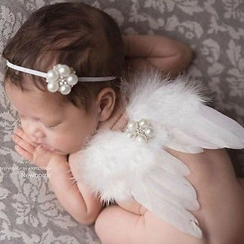2016 Newborn Baby Girl White Feather Angel Wing +Rhinestone Headband Photography Props