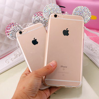 Hot Luxury 3D Diamond Glitter Mickey Minnie Mouse Ears Rhinestone Clear Phone Cases Cover For iPhone 7 7Plus 5G 5S 6 6G 6S 6Plus