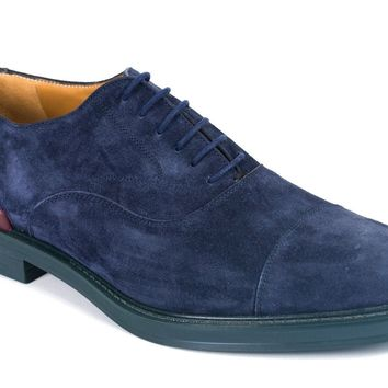Valentino Garavani Mens Blue Suede Lace-Up Shoes Oxfords