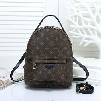 """""""LV"""" Louis Vuitton Casual Wild Retro Plaid Backpack Travel Backpack Bag 2#"""