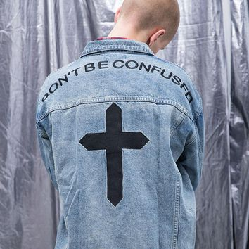 Kanye West Denim Jeans Jacket For Men Women 2pac High Quality Washed Ladies Denim Jackets Embroidery Cross Jesus Jean Clothing