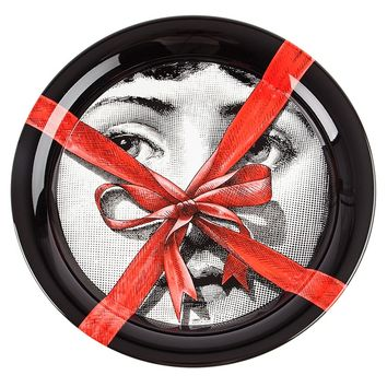 Fornasetti Red Ribbon And Face Print Tray