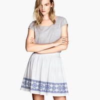 H&M - Embroidered Skirt - White/Blue - Ladies