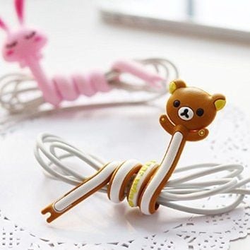5 pcs General Wire Cable Winder Cord Organizer Manager Animal Cartoon Appearance