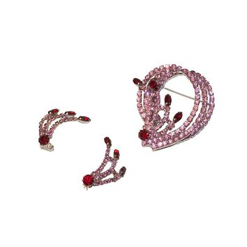 1950s Pink & Red Rhinestone Set, Mid Century Brooch & Earrings