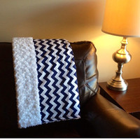 FREE SHIPPING Adult Size Minky Blanket, Throw, Lap Quilt Navy Blue Chevron bedding