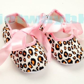 Infant Baby Toddler Girl Zebra Leopard  Pink Ribbon Bow Sole Crib Shoes 0-18M