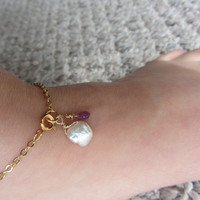 Gold Keishi Pearl and Amethyst Ankle Bracelet by OrganicDesign