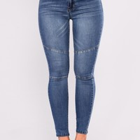 Cutting Corners Moto Jeans - Dark Denim