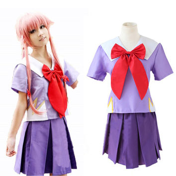 The Future Diary Heroine Gasai Yuno Mirai nikki Cosplay Costume High Quality Custom School Uniform full set colthes