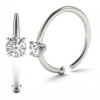 JewelMore 0.01ct Diamond Nose Ring Hoop - 14K White Gold or Yellow Gold